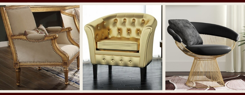 Gold Living Room Furniture | Gold Accent Chairs