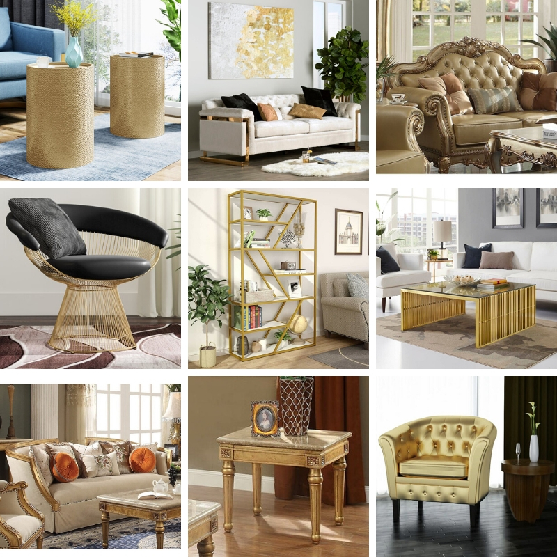 A collection of our favorite gold living room furniture pieces