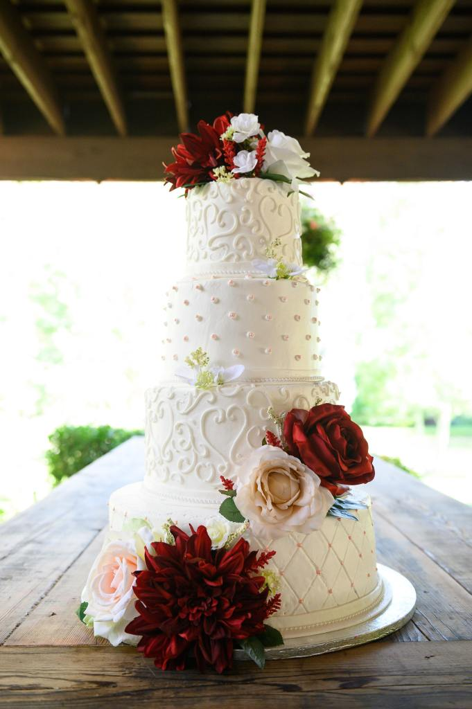 Heart Scrolls Wedding Cake