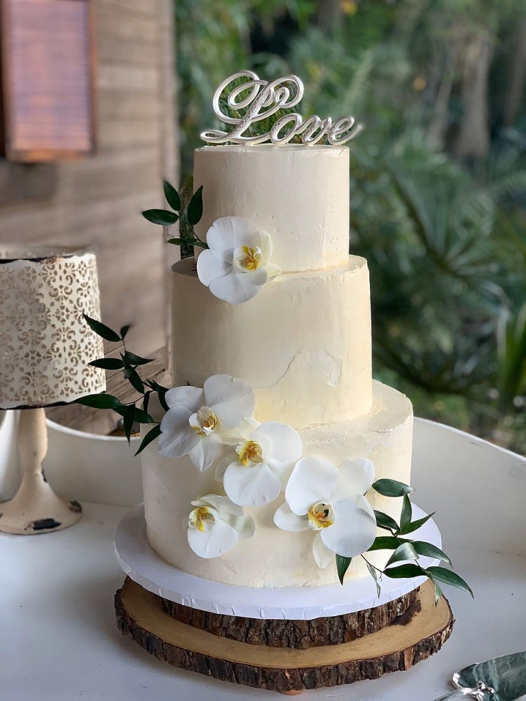 Love Orchids Wedding Cake