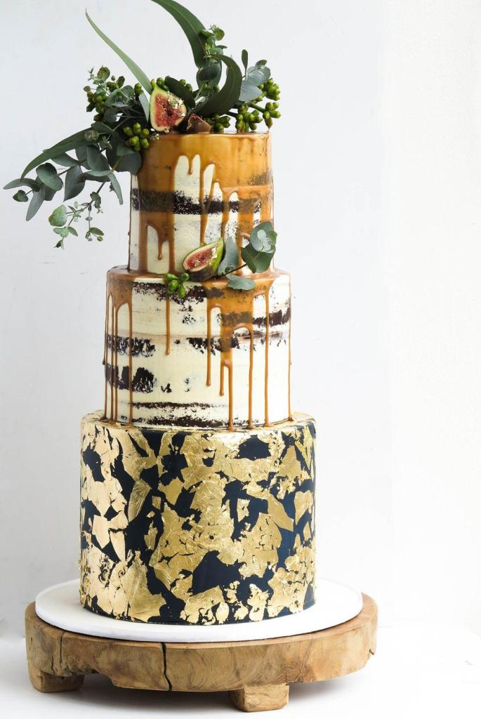 Navy & Gold Fall Wedding Cake by  Boutique Cake Art