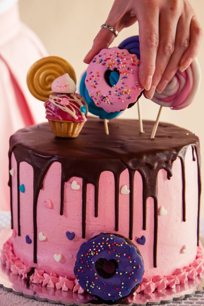 Pink Birthday Cake - Topped With Treats