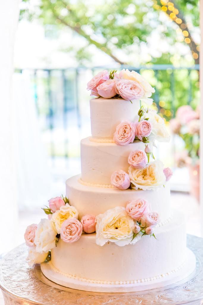 Pink Flowers Wedding Cake Design