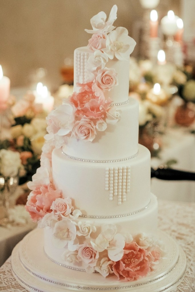 Pink Roses, Pearls, and Diamonds Wedding Cake