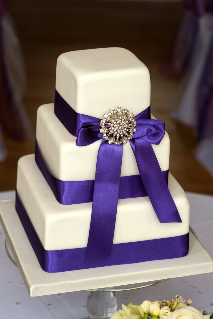 Purple Ribbons Square Wedding Cake