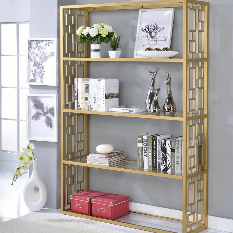 Rhys Gold Etagere Bookcase