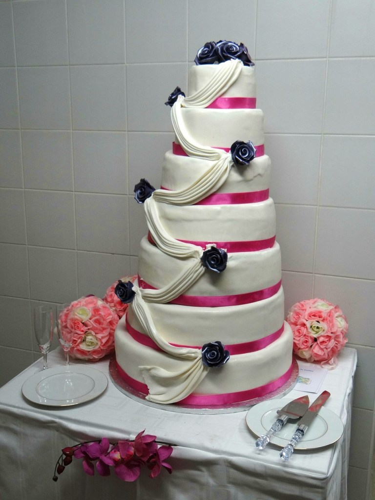 Ribbon Sash Wedding Cake