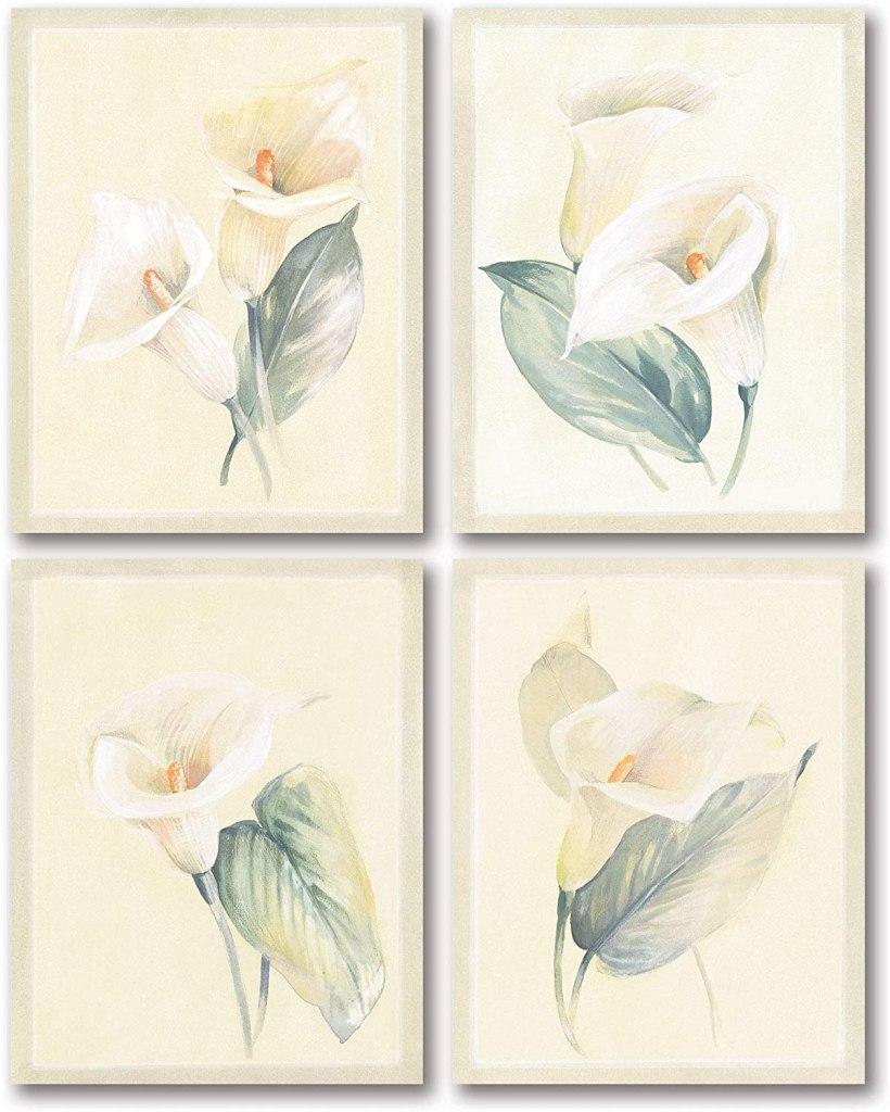 Soft White Calla Lilies 4-Piece Poster Print Set