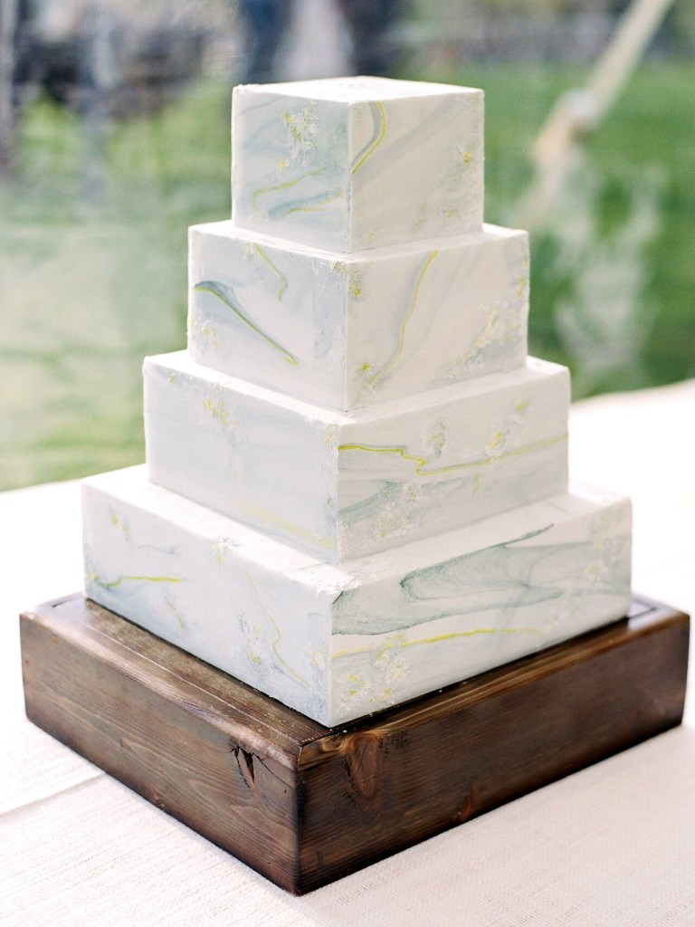 Square Marble Tiered Wedding Cake phot by Rachel Havel