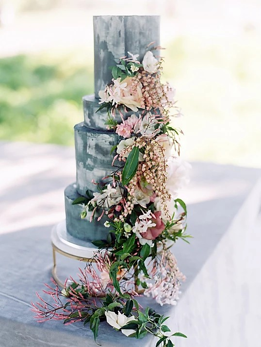 Stone Tiered Wedding Cake by Hey There, Cupcake