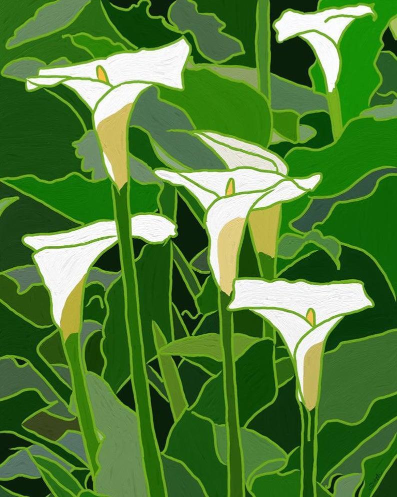 White Calla Lily Digital Art Print