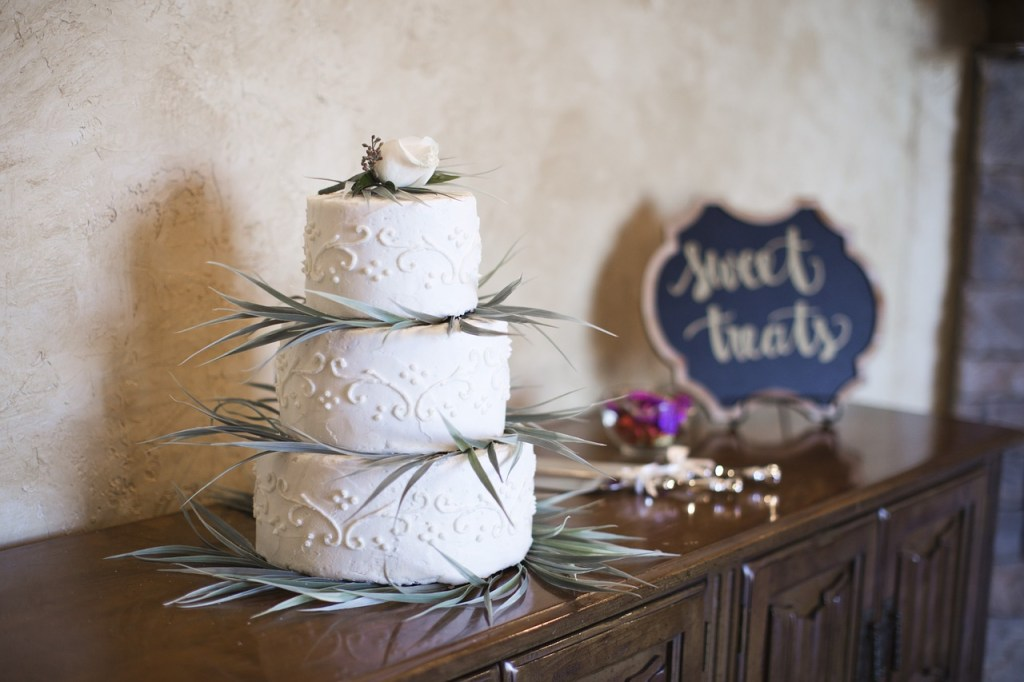 White Eucalyptus Sprigs Wedding Cake