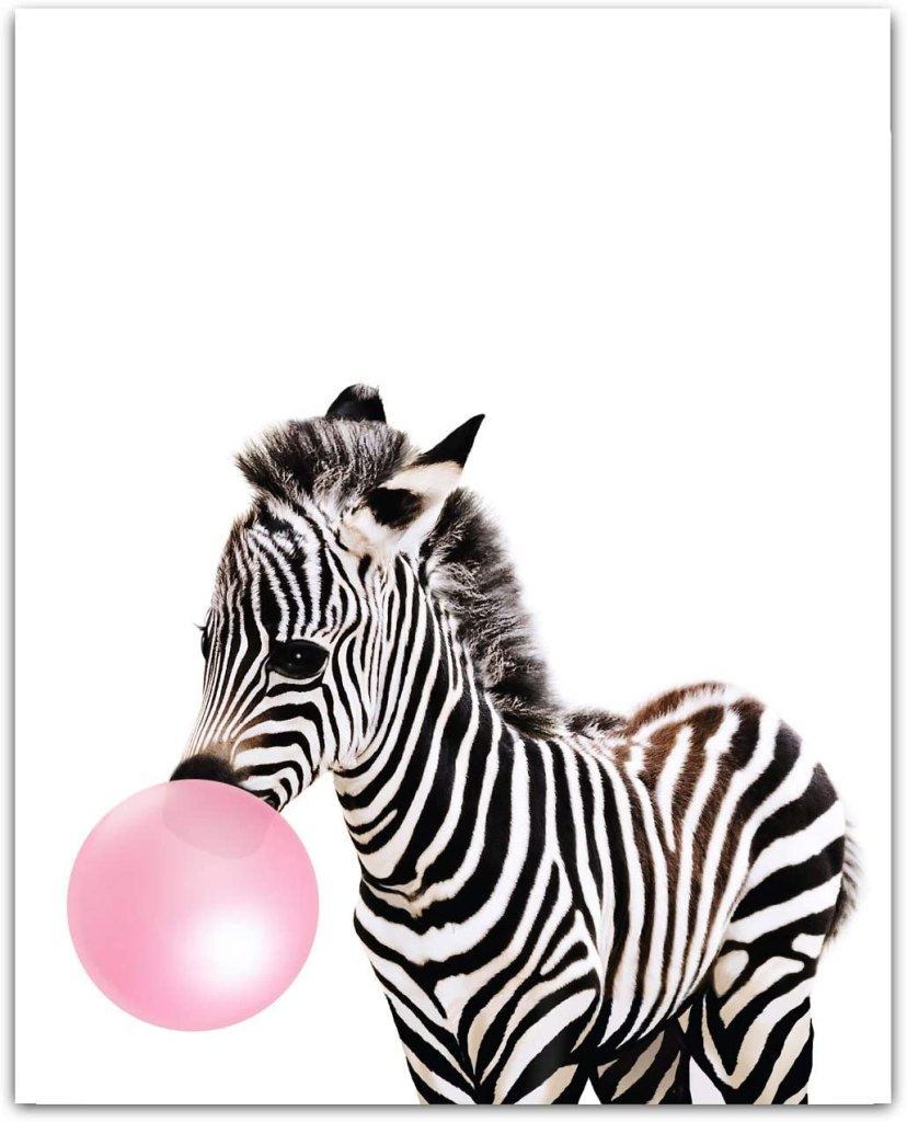 Baby Animals with Bubblegum Zebra Art Print