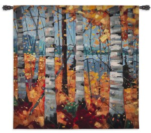 Border View | Woven Trees Art Tapestry | 44 x 44