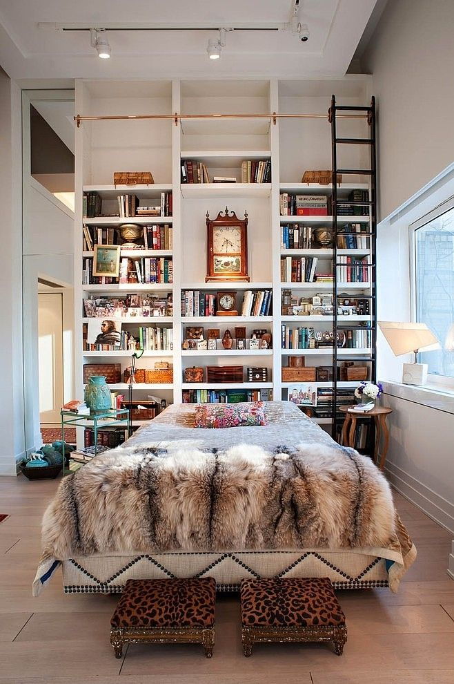 Floor to Ceiling Bookshelf Headboard