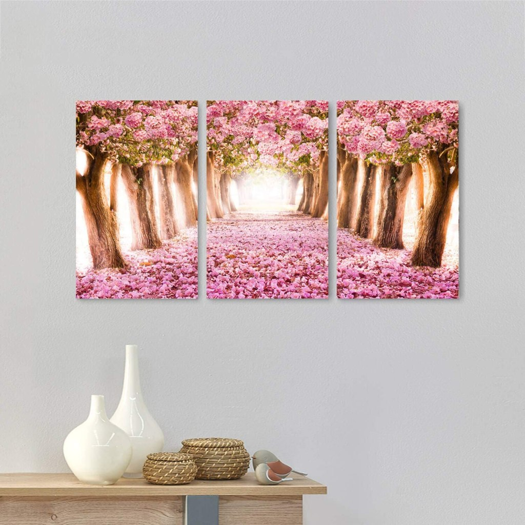 Forest Path with Pink Blooms
