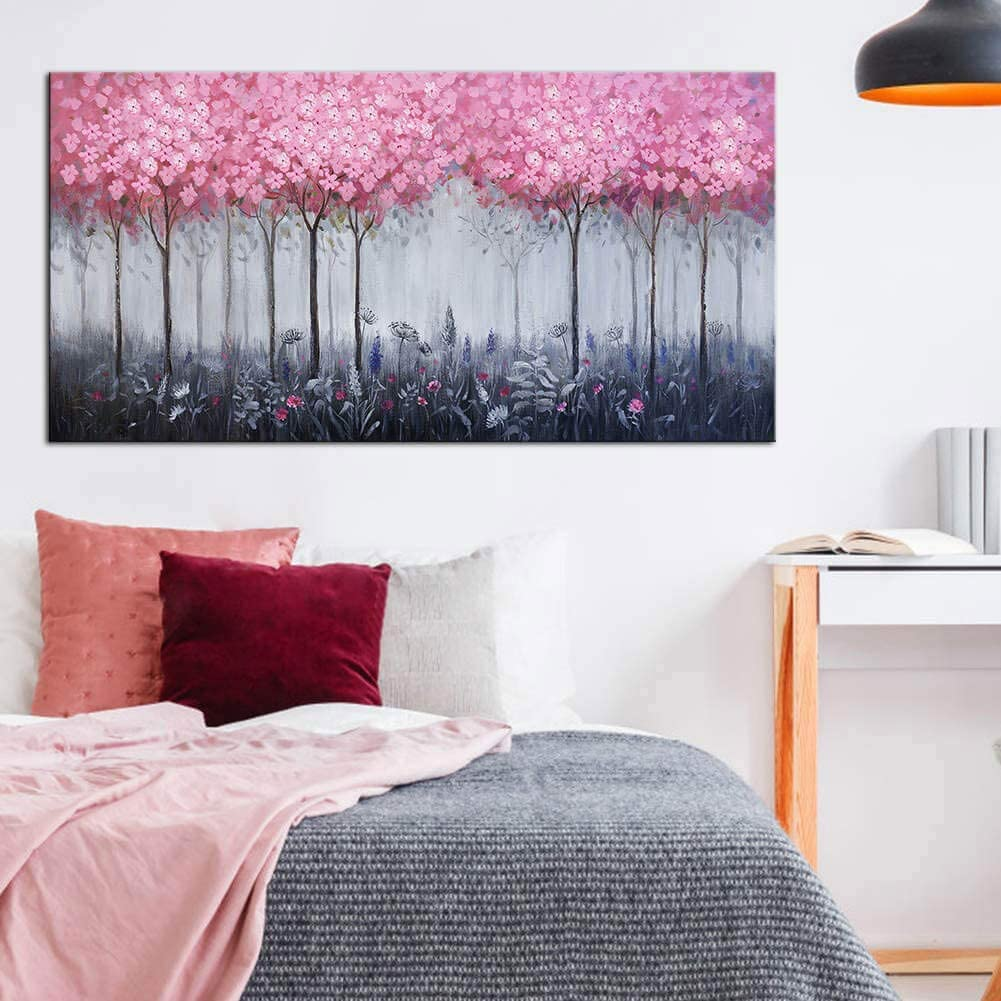 Large Abstract Pink Forest Wall Art