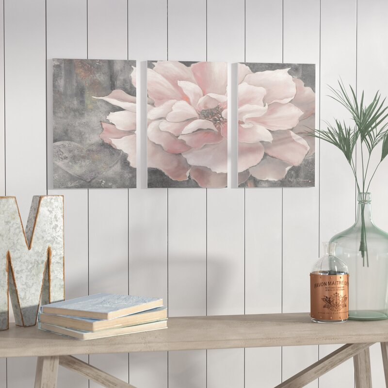 Pastel Pink Peony on Gray 3-Piece Art Set
