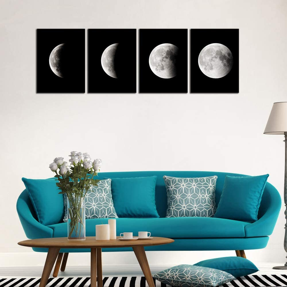 Phases of the Moon Black & White Art Set