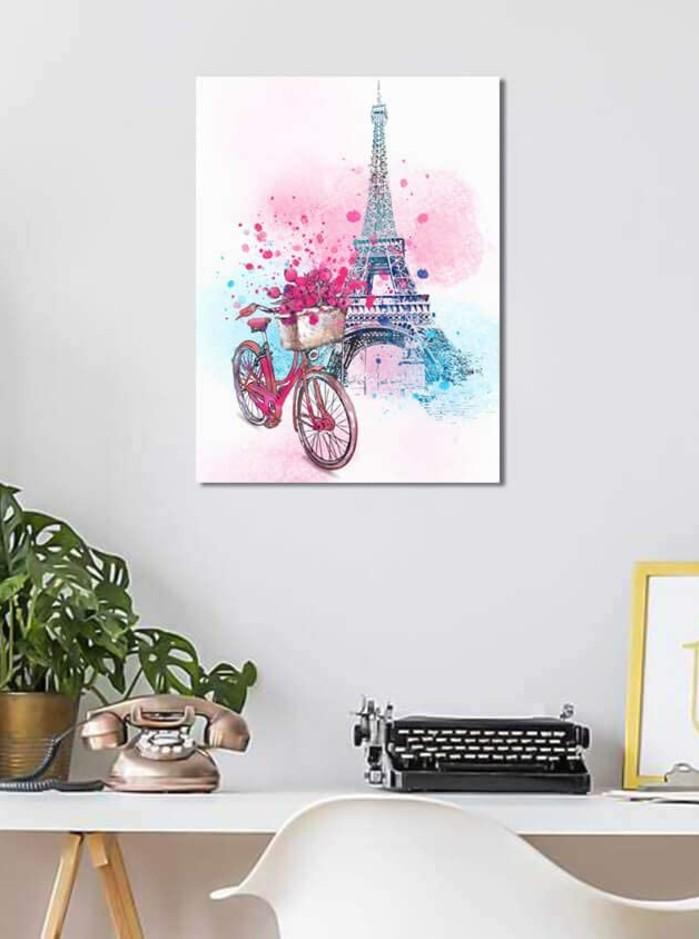 Pink Bicycle in Paris Art Print