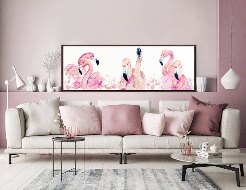 Pink Flamingos Watercolor Painting