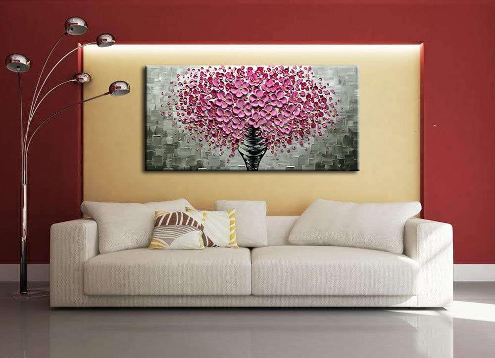 Pink Flowers Palette Knife Painting
