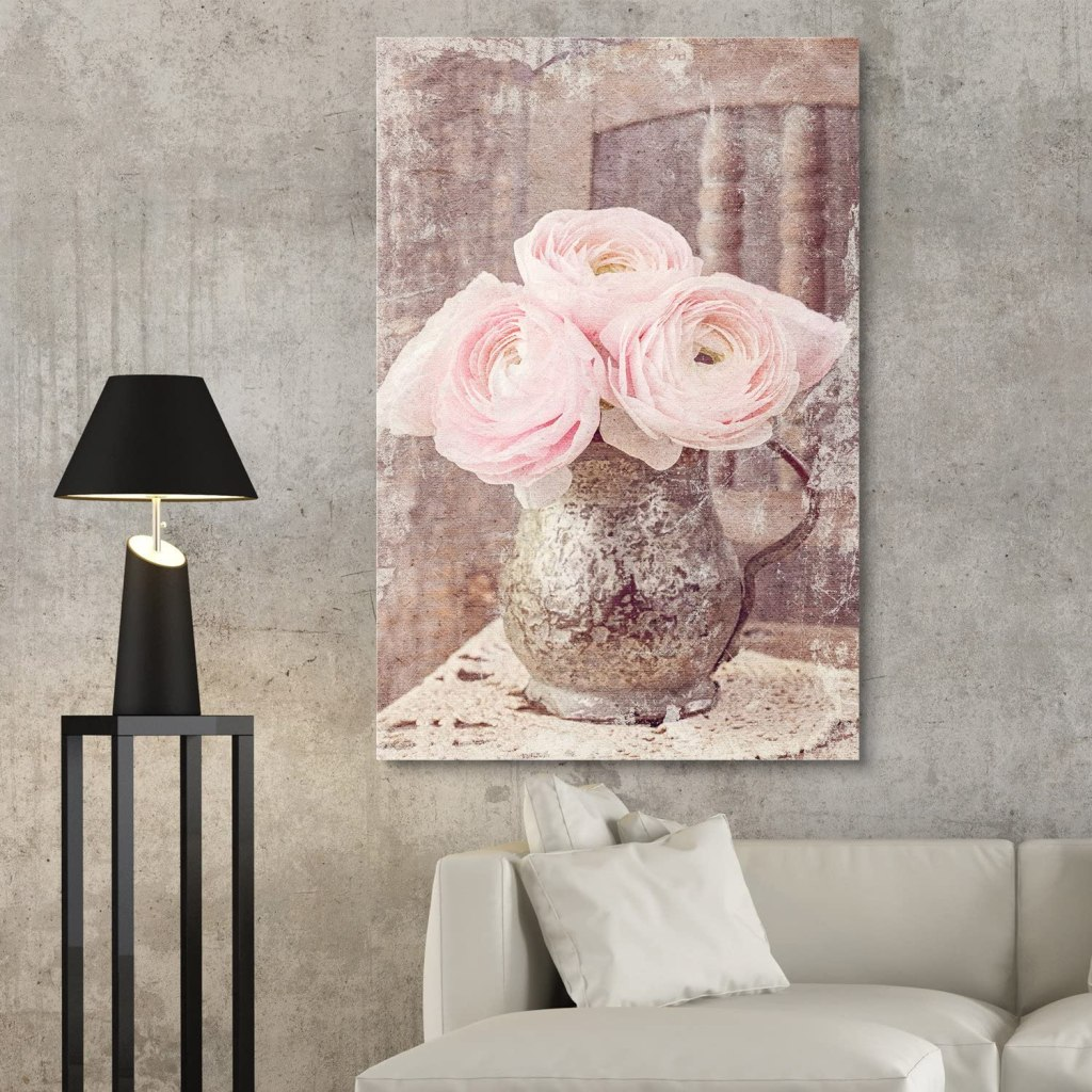 Pink Heirloom Roses in a Metal Vase Giclee Print