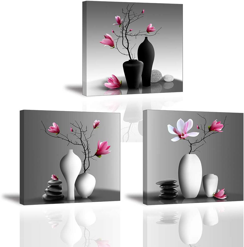 Pink Magnolias in Black and White Vases Art Print Set