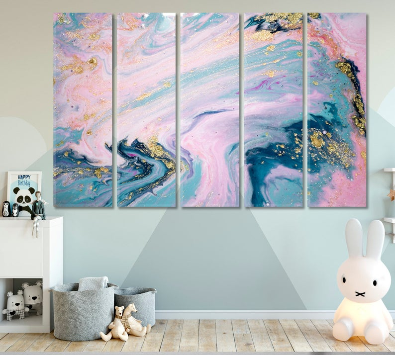 Pink Marble 5-Piece Canvas Art Set