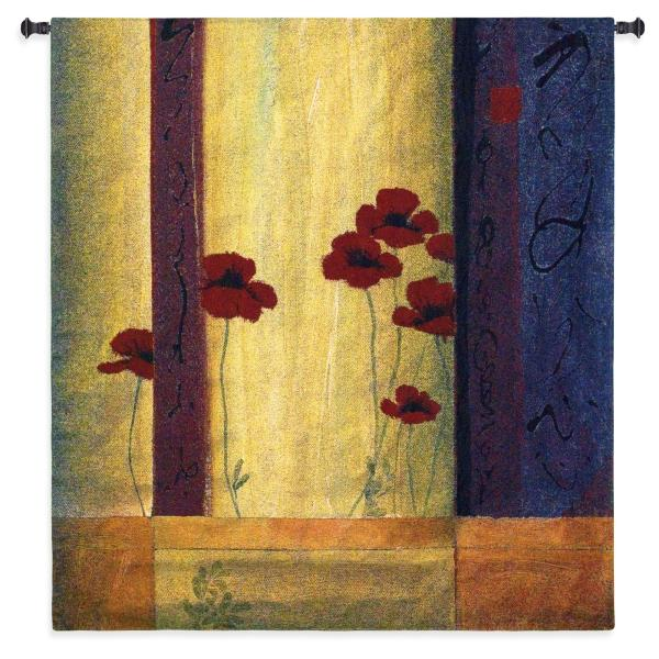 Poppy Tile I   Large Contemporary Tapestry Wall Hanging   53 x 53