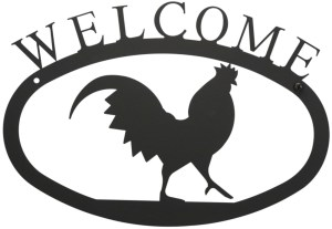 Rooster Large Wrought Iron Welcome Sign