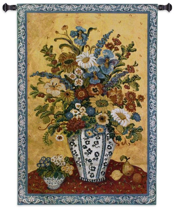 Suzanne's Blue And White | French Country Floral Tapestry | 53 x 35