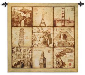 Travel | Landmarks Tapestry Wall Hanging | 53 x 53