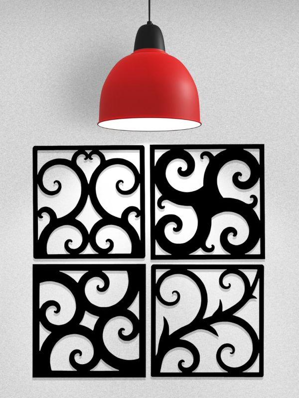 Wrought Iron Art Tiles 4 Different