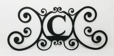 Wrought Iron Monogram Wall Plaque Letter C