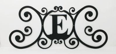 Wrought Iron Monogram Wall Plaque Letter E
