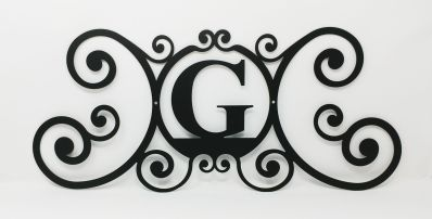 Wrought Iron Monogram Wall Plaque Letter G