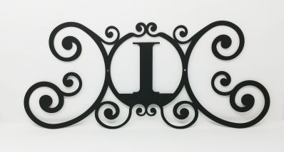 Wrought Iron Monogram Wall Plaque Letter I