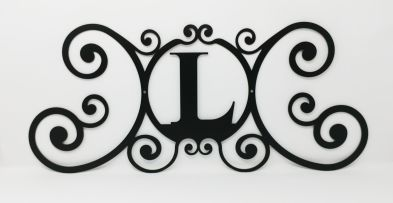 Wrought Iron Monogram Wall Plaque Letter L