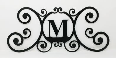 Wrought Iron Monogram Wall Plaque Letter M