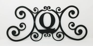 Wrought Iron Monogram Wall Plaque Letter Q