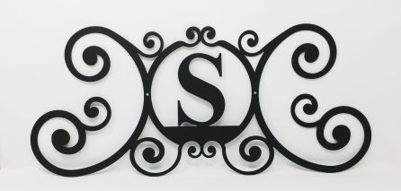 Wrought Iron Monogram Wall Plaque Letter S