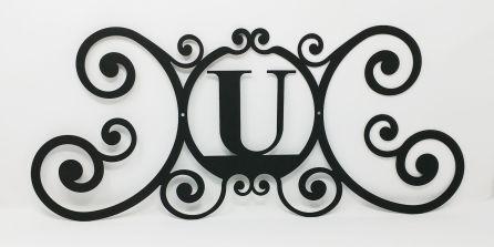 Wrought Iron Monogram Wall Plaque Letter U