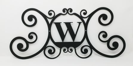 Wrought Iron Monogram Wall Plaque Letter W