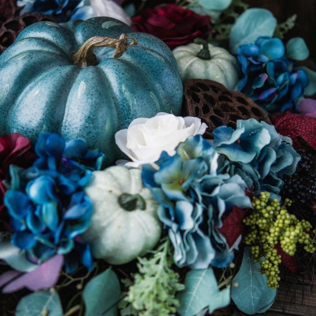 Blue Pumpkin Fall Decor