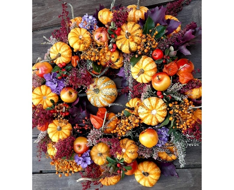 Colorful Mini Pumpkin Wreath