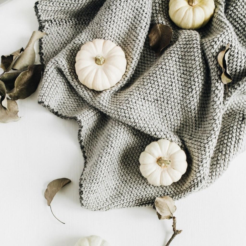 Gray and White Pumpkin Fall Decor
