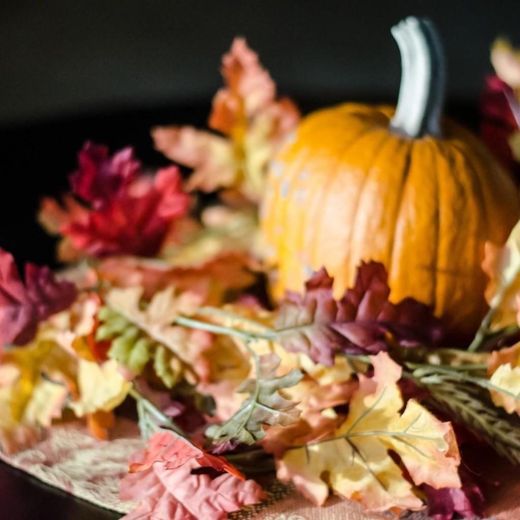 Pumpkin and Fallen Leaves