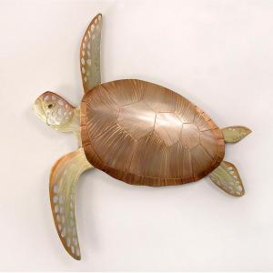 Sea Turtle Copper Metal Wall Art