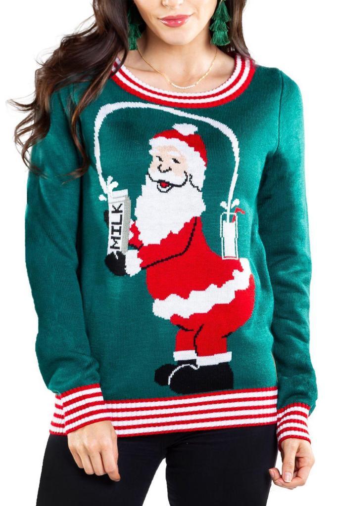 Womens Santa Break the Internet Ugly Christmas Sweater